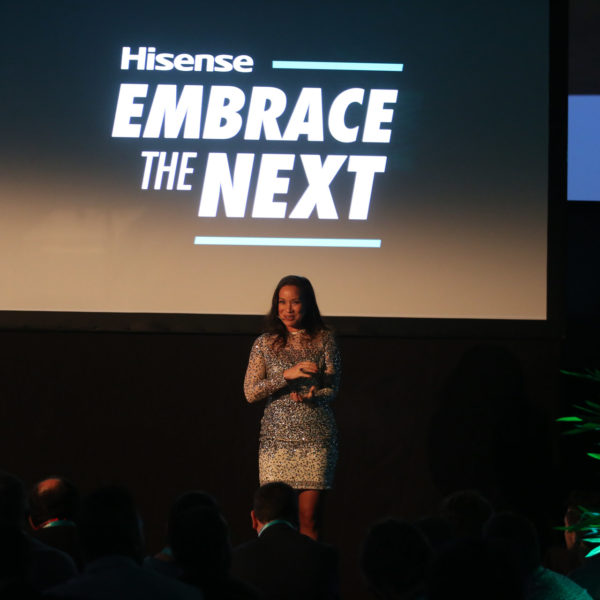 MAster of ceremony welcoming guests during product launch in barcelona during MWC