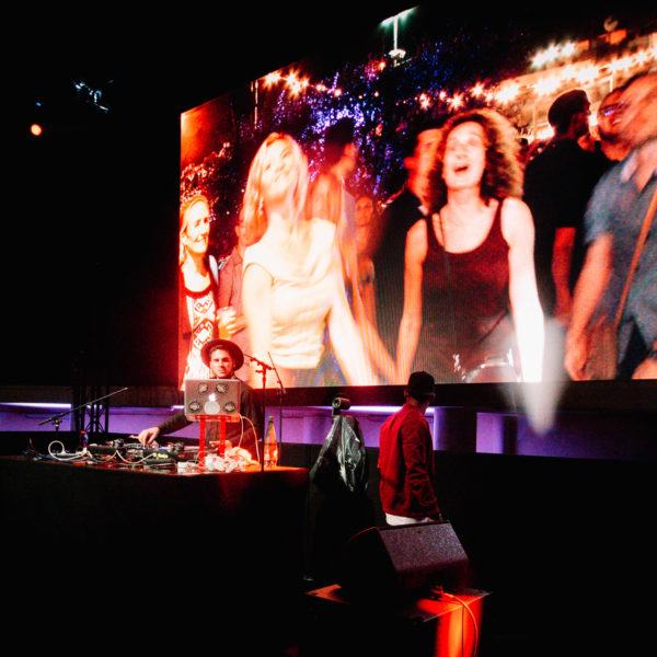 Giant led screen used to display live images of the audience
