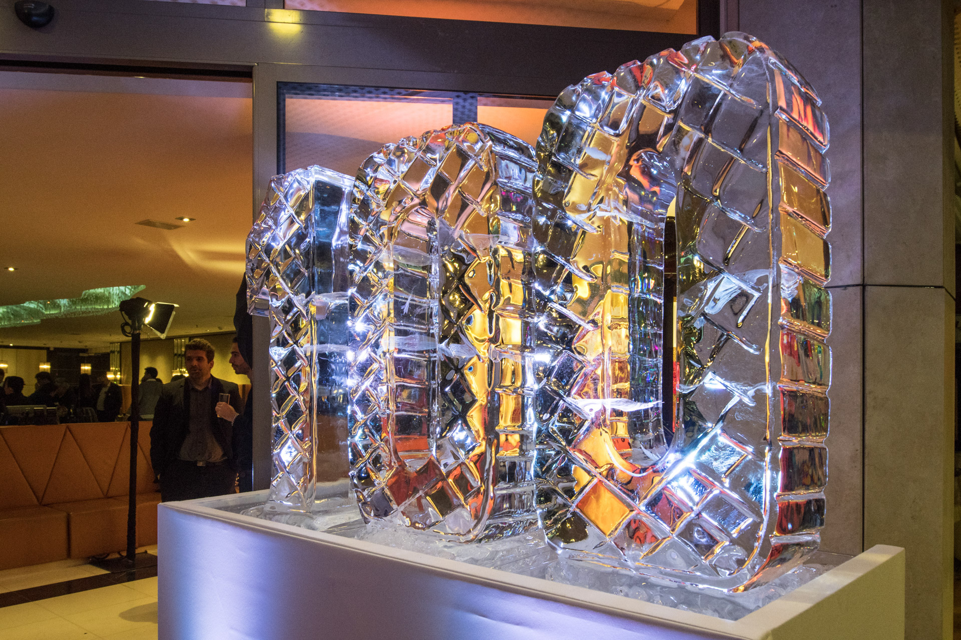 100 ice sculpture with led light underneath