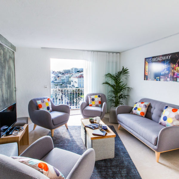 Sofas and chairs in a lounge format for meetings during MIPIM inside headquarters on the croisette in Cannes