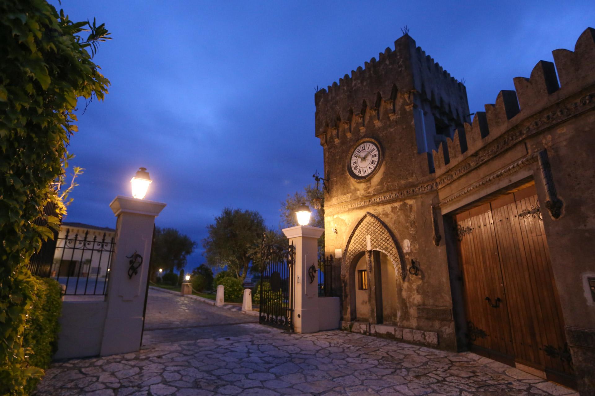 Entrance of the wine castel at dusk