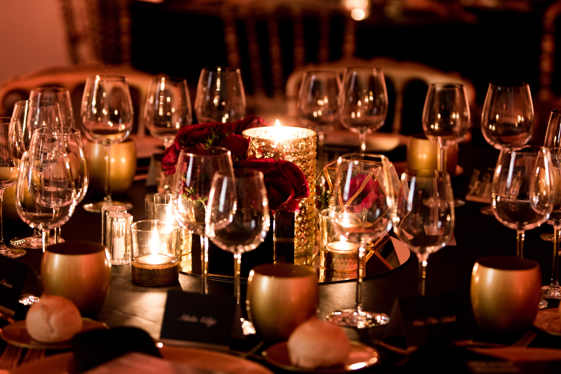 Tableware gold and black during exclusive dinner in Barcelona during MWC
