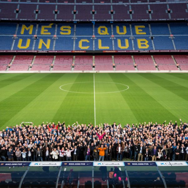 Camp Nou privatisation for gala dinner group picture on the football field during sales kick off seminar