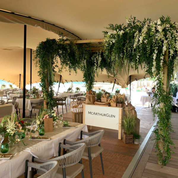 floral canopy above the bread station under the berber tent during MAPIC networking lunch