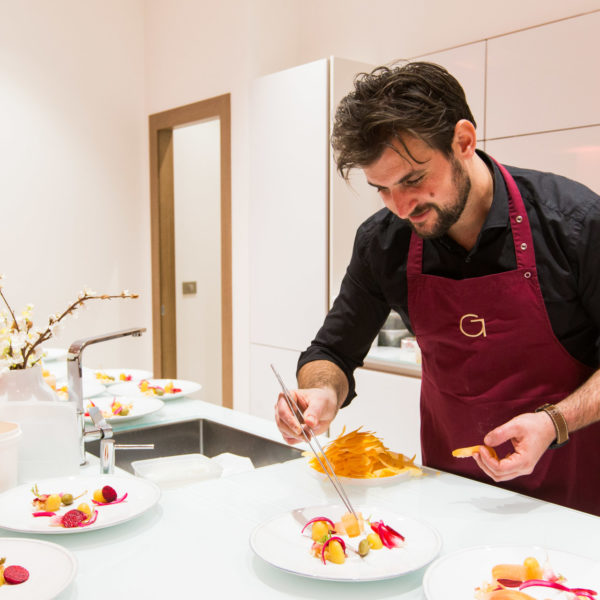 Private chef preparing plates during an exclusive dinner during MIPIM