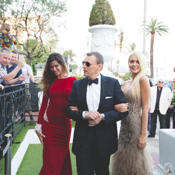 Daniel Craig James bond doppleganger and james bond girls arriving at the casino royal theme event at Le Negresco