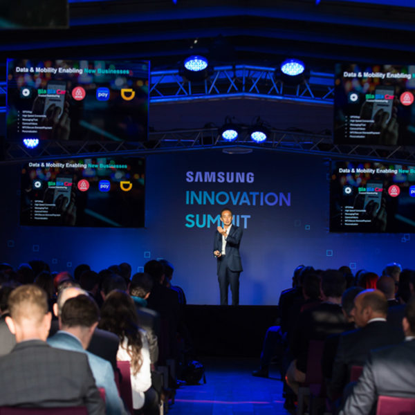 Young Sohn on stage during the innovation summit