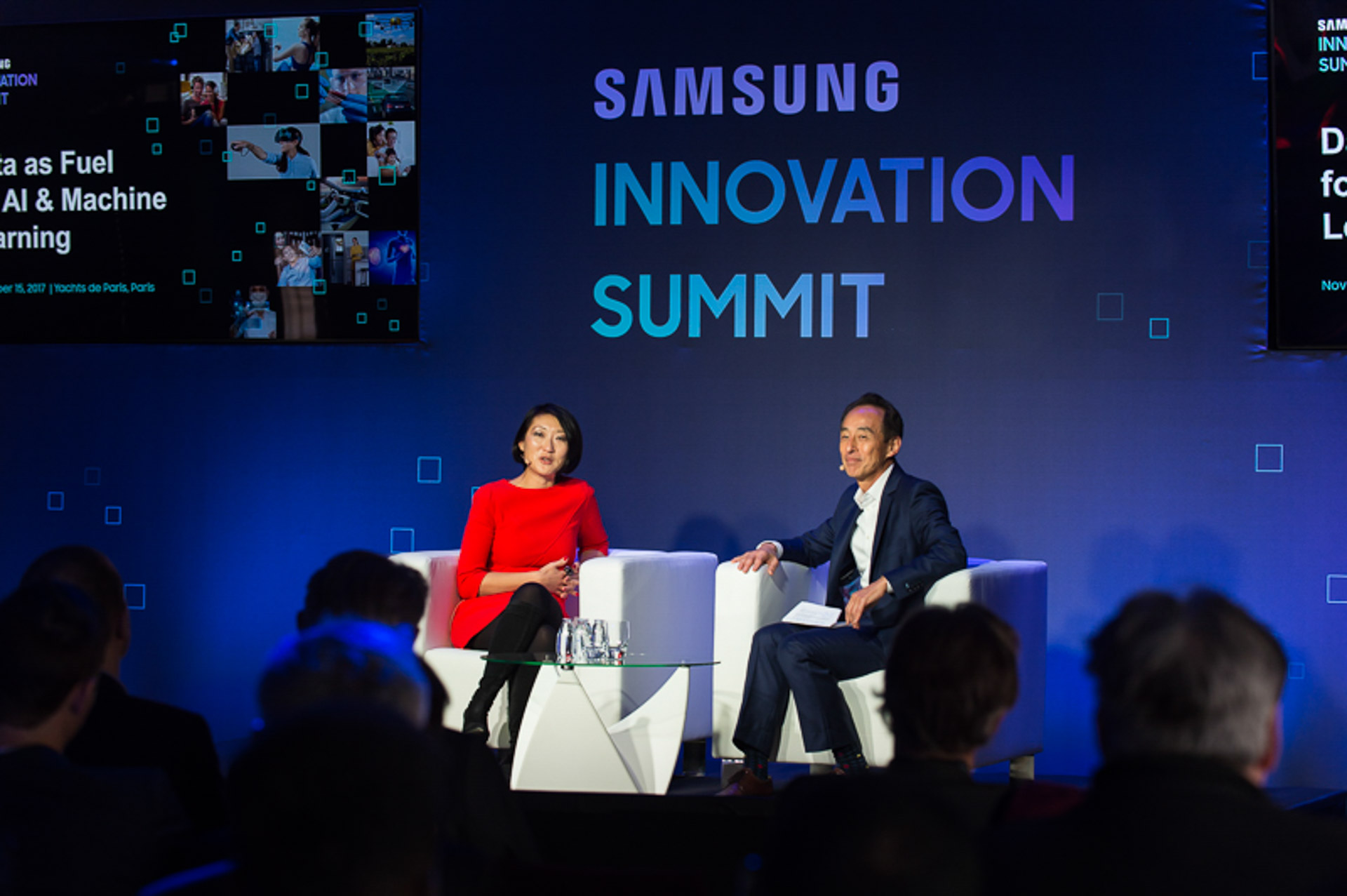Fleur Pellerin and Young Sohn on stage during Innovation summit in Paris