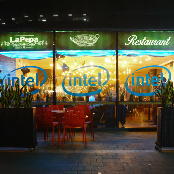 Venue for a walking distance networking event during MWC with branded windows