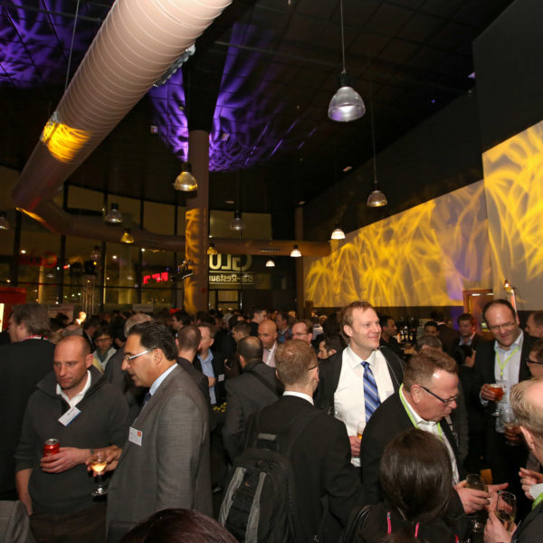 Networking event during MWC in venue facing Fira Gran Via