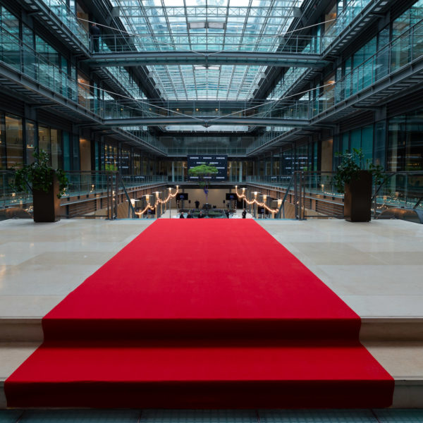 red carpet at the entrance of the event area