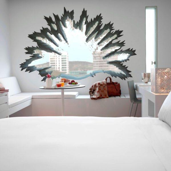 Palm tree shaped window inside the bedroom