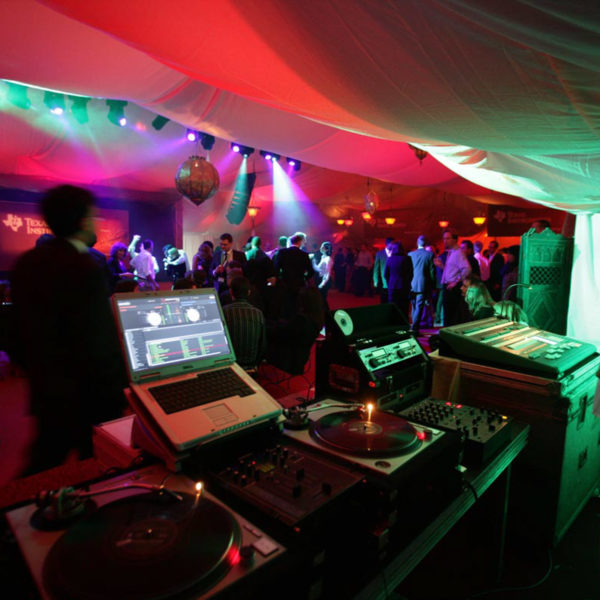 LIghting show on the tent and DJ set up during One Thousand and One Nights theme party